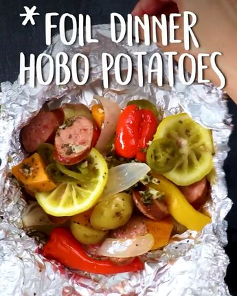 Great for camping—or a fun weeknight meal. #Foil #Dinner Hobo Potatoes in oven hamburger for camping chicken