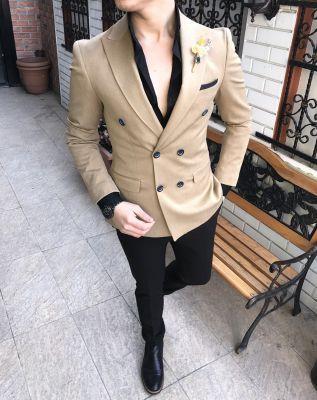 d8f01e0f54033 Terziademaltun - Italian style men's jacket pants double-breasted  combination suit T2192 (1