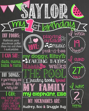 Chevron Watermelon First Birthday Chalkboard Poster 1st Sign Custom Printable