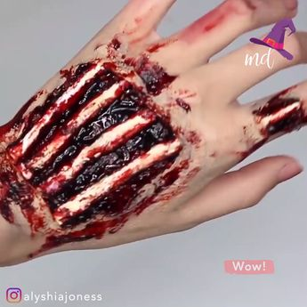 These exposed hand bones are perfect for Halloween!