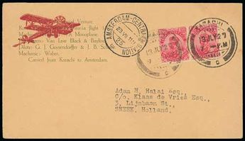 India, 1927 (July 13) Printed cover to Holland, flown from Karachi to Amsterdam by G.J. Geysendorffer and J.B. Scholte on their return flight from Batavia