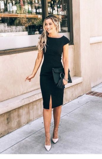 Black dress and bag with white shoes