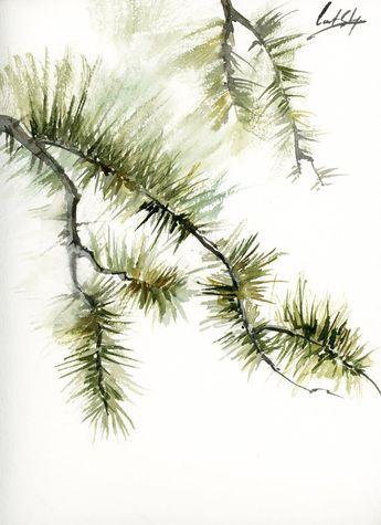 Pine Tree Branches Original Watercolor Painting, modern minimalist painting, green pine tree minimalist painting