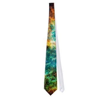 Crab Nebula Supernova Remnant Hubble Space Photo Neck Tie, Adult Unisex, Pale Blue / Sky Blue / Dark Sea Green