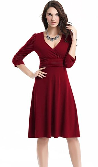 2e52338623c Deep V Neck 3 4 Sleeve Vintage Party Ruched Waist Classy Cocktail Dress   Amazon