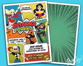 Dc Superhero Girls Birthday Invitation Dc Superhero Girls