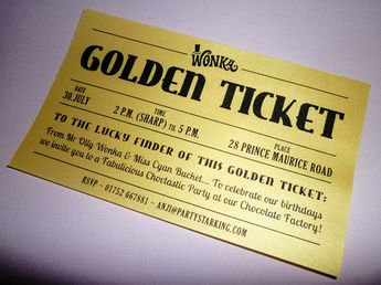 Chocolate Factory Golden Ticket Custom Prop Replica Modern