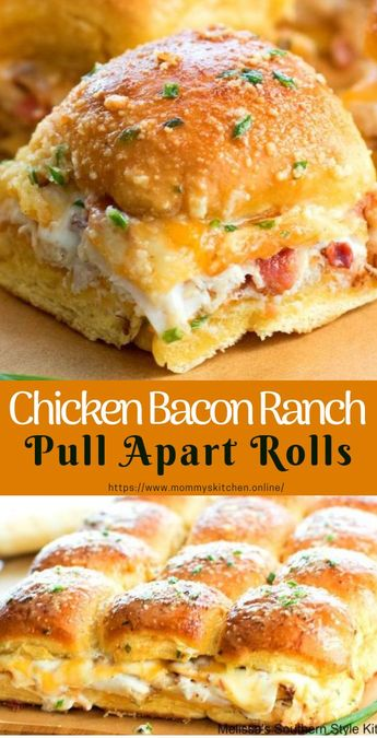 Chicken Bacon Ranch Pull Apart Rolls #pullApartRolls #easyrecipe