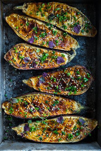 Vegan miso glazed eggplant (nasu dengaku)
