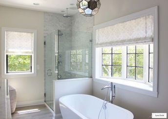 Holland & Sherry Amalfi White Trevira Sheer Roman Shade in Master Bathroom
