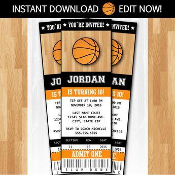 basketball invitation printable invitation kids birthday