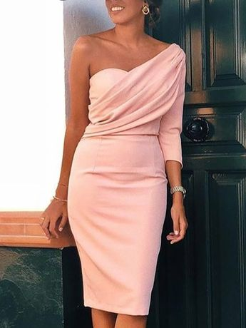 Solid One Sleeve Ruched Bodycon Dress