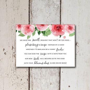 bridal shower invitation printable recipe cards printable bridal shower invitation inserts floral bridal