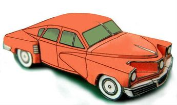 This paper car is a Tucker 48 (commonly referred to as the Tucker Torpedo), an automobile conceived by Preston Tucker and briefly produced in Chicago in 19