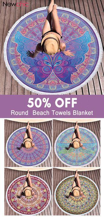 Bohemian Mandala Printing Microfiber Round Tassel Beach Towels Yoga Mat Round Blanket.