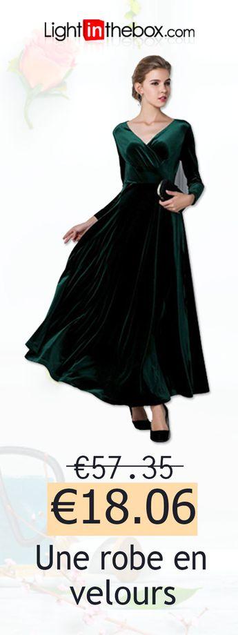 Femme Velours Grandes Tailles Sortie Mi-long Gaine Robe Couleur Pleine Taille haute Col en V Violet Vin Bleu royal XL XXL XXXL Manches Longues / Ample