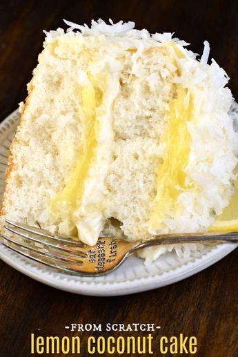 The very best, from scratch, Lemon Coconut Cake recipe #coconut #cake #lemon #creamcheesefrosting