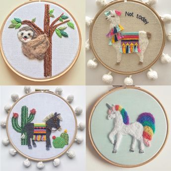 Ive been busy with lots more needle felted and embroidered animals - heres a sloth no drama llama unicorn and a fancy donkey.