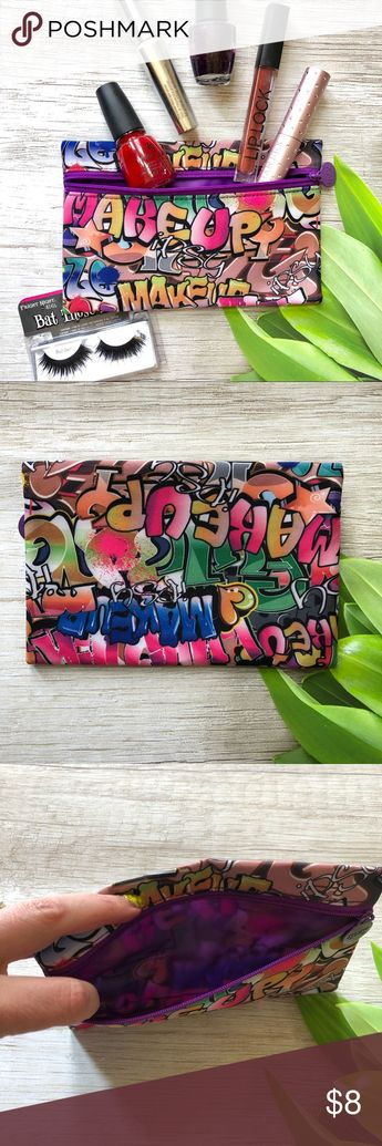 Bright and fun Graffiti Makeup Bag NWOT Cute makeup bag that has room to hold plenty of your everyday essentials. Bright and fun, this bags covered in graffiti graphics.  Has a purple inner lining and a zip enclosure.   Perfect to use as a gift bag for the upcoming holidays or that little gift for someone.   Please ask questions and happy poshing Bags Cosmetic Bags & Cases