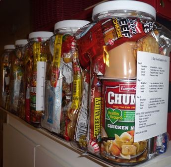 Homemade 72 Hour Emergency Food Supply Kits One gallon plastic food container per kit (it is very hard to fit all the food into the container so I plan on using 1 gallon zip lock bags) -