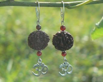 c672cb758 Moon Rudraksha earrings, Celestial jewelry, Meditation yoga festival,  crescent moon, Shiva Hindu