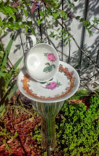 Tiny Teacup Caterpillar Bird Feeder Garden Art Totem Recycled Repurposed Upcycled Gift for Mom Grand
