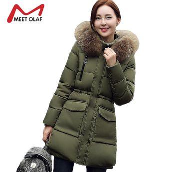 4f4a3df20d89a 2017 Fur Hood Women Winter Down Jackets Pockets Winter Coats Female Cotton  Padded Parkas Outwear chaquetas