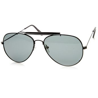 58861b3f03918 Classic Teardrop Crossbar Metal Aviator Sunglasses - Black - CZ11E0Y3SWL