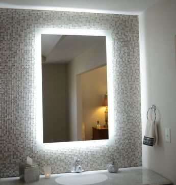 "Side-Lighted LED Bathroom Vanity Mirror: 36"" x 48"" - Rectangular - Wall-Mounted"