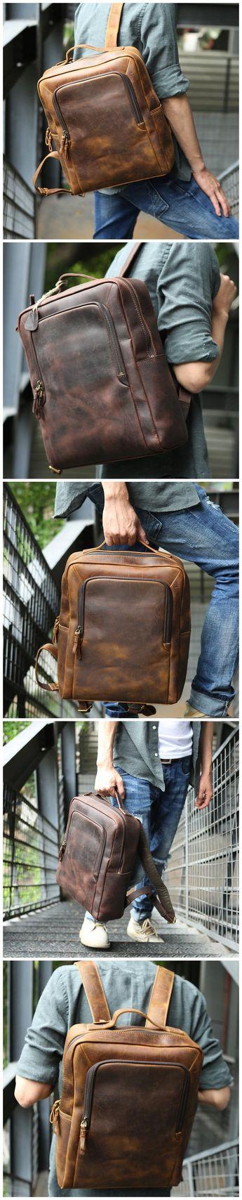Crazy Horse Leather Laptop Backpack Handmade Backpack Men Travel Backpack  Z8250 516db70706921