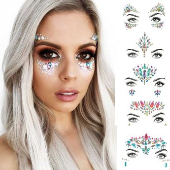 Perfect rave accessories for rave outfits, rave makeup, festivals. Body glitter and Face jewels. Look stunning and stand out from the crowd.