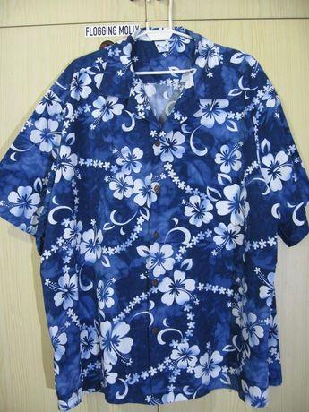 b0184cb9 Mens 3XL Oversize cotton Vintage 1980s Blue Flower Hawaiian Shirt Surf flower  Floral Beach coconut tree