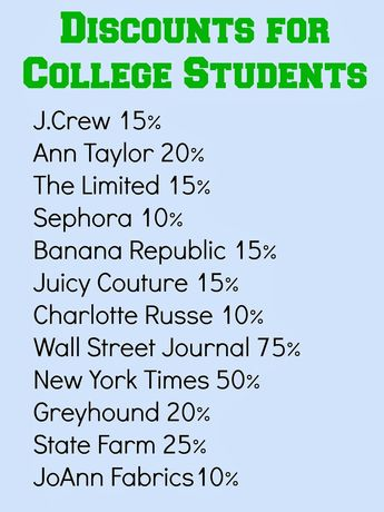Life {with} Blessings: College Student Discounts...I wonder how true this is