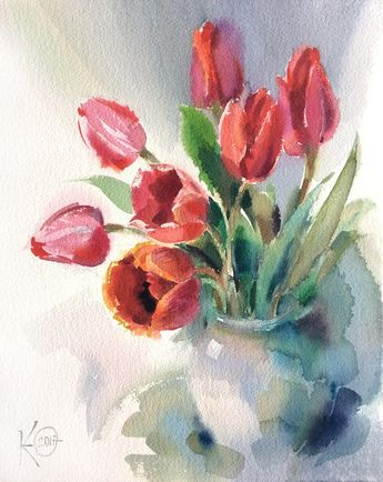 "Watercolor painting ""Red Tulips"" by Julia Kirilina"