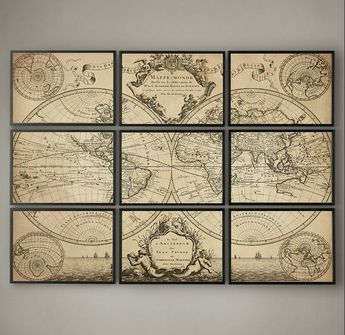 L'ISLE'S 1720 WORLD MAP, Fine Art Print, L'Isle's 1720 Guillaume de L'Isle's mappe monde, 9 Panel Map, Map of the World, Triptych, Old Map