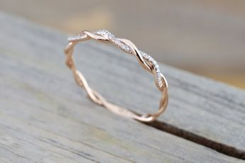 14k Rose Gold Diamond Rope Twined Vine Micro Pave Stackable Ring RR010009