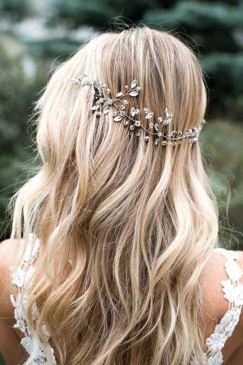 Wedding Hair Vine, Bridal Wire Hair Halo, Crystal Hair Wreath, Forehead band, Crystal Hair Vine, Boho Headpiece, Silver or Gold - 'OPHELIA'