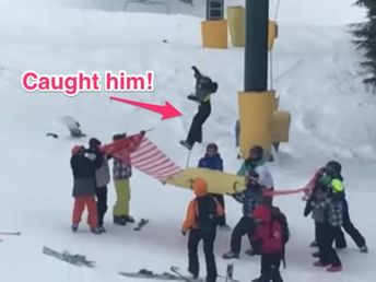 8-year-old boy dangling from a ski lift was rescued by quick-thinking teenagers who created a makeshift safety net