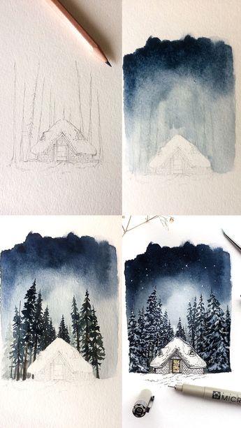 Winter cabin watercolor and pen