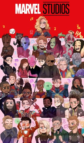 (In order, from left to right) Captain marvel, Groot, rocket raccoon, Nebula, star lord, Gamora, Drax, Mantis, The Wasp, Scarlet Witch, Vision, Maria Hill, Nick Fury, Grandmaster, Korg, Falcon, Ant-Man, Hank Pym (or Stan lee?), Shuri, Okoye, Dr. Strange, Valkyrie, The Winter Soldier, Spider-Man, Black Panther, Hawkeye, Loki, Captain America, Iron Man, Black Widow, Bruce Banner/The Hulk, and Thor.