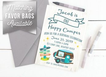 One Happy Camper Birthday Invitation Printable Customized Childrens Digital File Bday