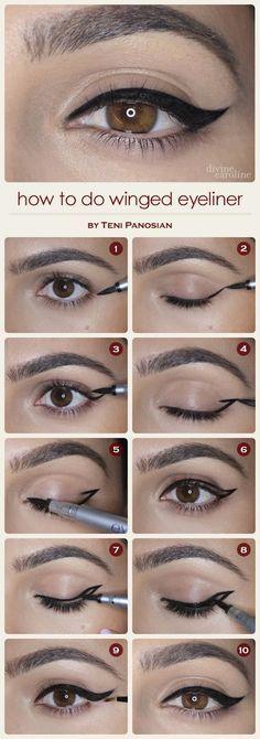 Si vous souhaitez un trait d'eye-liner en forme de virgule, dessinez les contours extérieurs, puis remplissez. Vous gagnerez en précision.