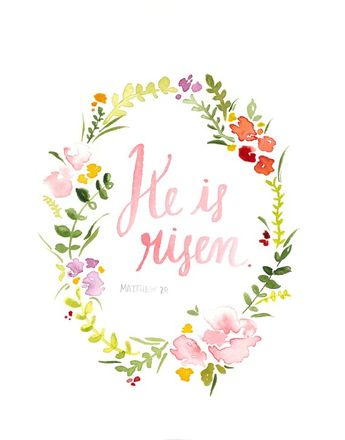 "Dowloadable option! Easter Flower Wreath Print, ""He is Risen"""