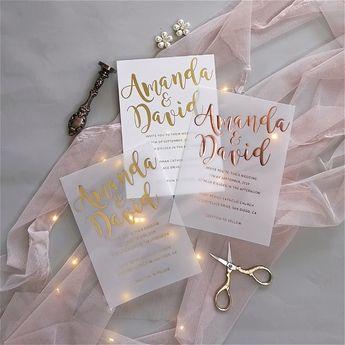 luxury modern custom foil wedding invitation suites on vellum paper SWFI003