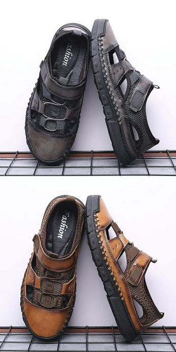 fdf29e87a Prelesty Comfortable Men Sandal Shoes Soft Split Cow Leather Outdoor  Professional