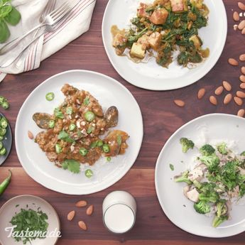 Almond milk is the secret ingredient that keeps these dinner entrees light and fresh.