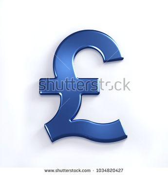 Blue Pound Symbol. 3D Render Illustration