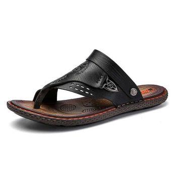 Simple Low-Cut Upper Flat Heel Slip-On Hollow Thong Sandal