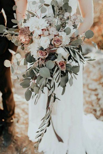 Blush, ivory, and sage green cascading bridal bouquet #weddings #weddingbouquets #weddingideas #bohemian #boho #greenery #weddingflowers #weddinginspiration