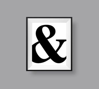 Ampersand Print, Bold Typographic Printable Wall Art, Minimalist And Symbol Black and White B & W 8 x 10 Instant Digital Download